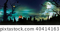 Spooky halloween background with graveyard stones silhouettes 40414163