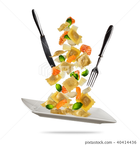 Concept of flying food with traditional italian ravioli and vegetable. 40414436