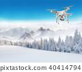 Flying drone in winter landscape 40414794