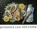 Oysters served on stone plate with ice drift 40414996