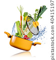 Fresh vegetables flying into a pot on white background 40415197