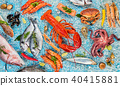 Many kind of seafood, served on crushed ice 40415881