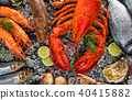 Many kind of seafood, served on crushed ice 40415882