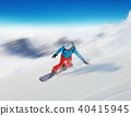 Young man snowboarder running downhill in fast motion 40415945