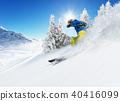 Skier on piste running downhill 40416099