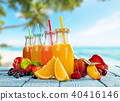Fresh smoothie drinks placed on wooden planks, blur beach on background 40416146