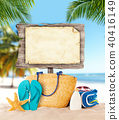 Tropical wooden board with copyspace fort text 40416149