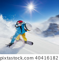 Young man snowboarder running downhill in fast motion 40416182