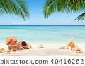 Summer sandy beach with blur ocean on background 40416262