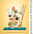 Flying sushi pieces served on plate, separated on colored background 40416328