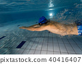 Young man swimming in pool 40416407