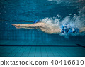Young man swimming in pool 40416610