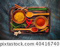Overhead view of dried spices in bowls 40416740
