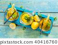 Lemon ice tea served on wooden table 40416760