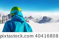 Skier backside view on beautiful landspace 40416808