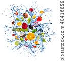 Fruit in water splash on white background 40416859