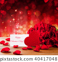 Valentines gift box on abstract red background 40417048