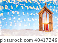 Christmas background with wooden lantern 40417249