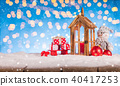 Christmas background with snowman and lantern 40417253
