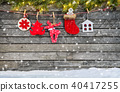 Christmas decoration placed on wooden planks 40417255