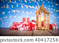 Christmas background with pile of gifts 40417256