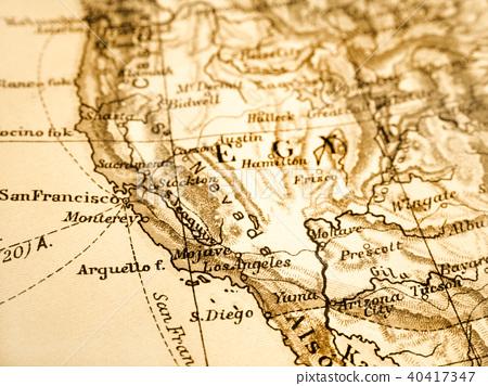 Map Of America Los Angeles.Old Map America Los Angeles Stock Photo 40417347 Pixta