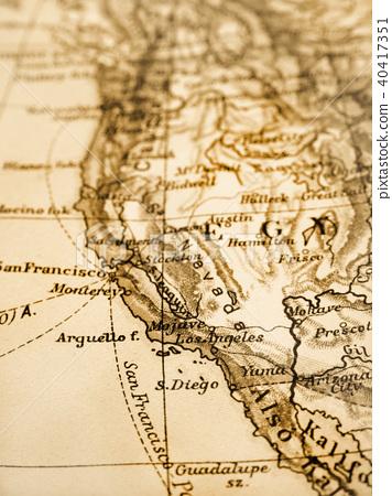 Map Of America Los Angeles.Old Map America Los Angeles Stock Photo 40417351 Pixta