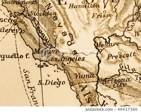 Map Of America Los Angeles.Old Map America Los Angeles Stock Photo 40417360 Pixta