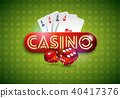 Vector illustration on a casino theme with shiny neon light letter and poker cards on green 40417376