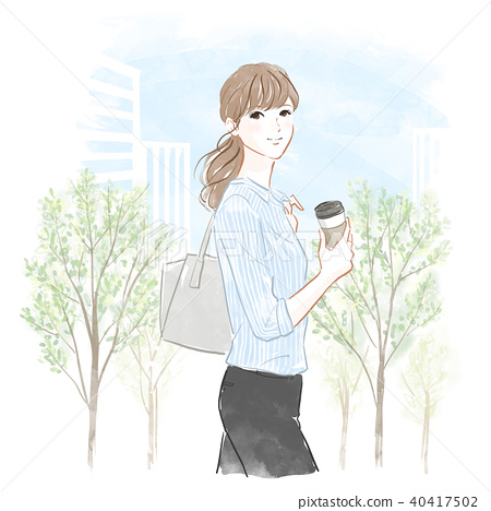 Walking woman with coffee 40417502