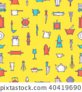 Kitchenware vector seamless pattern cookware for cooking and kitchen utensils or cutlery for 40419690