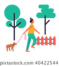 Adult Woman Walking Her Dog Isolated Illustration 40422544