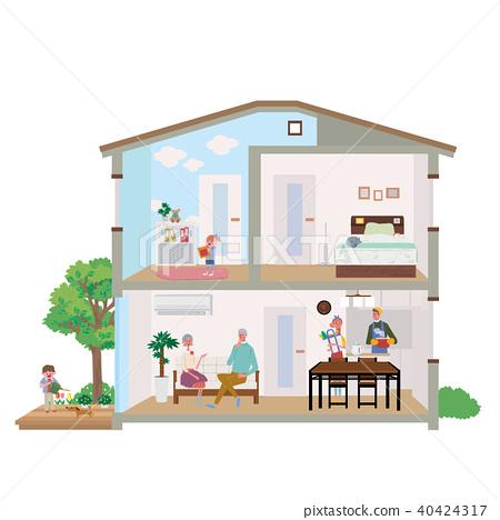 두 주택 집 단면도 일러스트 40424317