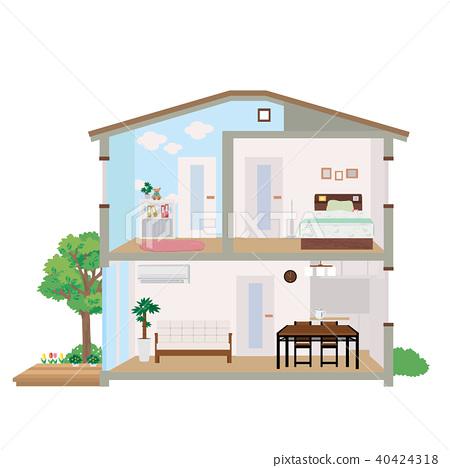 주택 집 단면도 일러스트 40424318