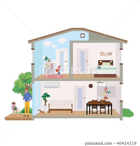 주택 집 단면도 일러스트 40424319