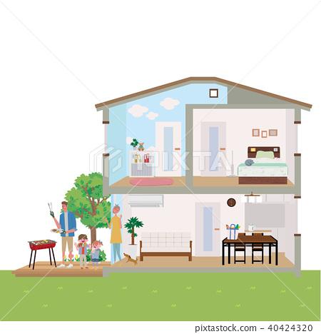 주택 집 단면도 일러스트 40424320