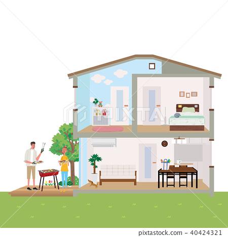 주택 집 단면도 일러스트 40424321