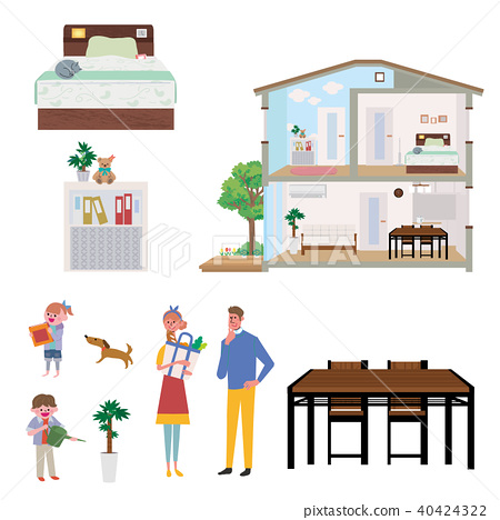 주택 집 단면도 일러스트 세트 40424322