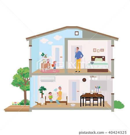 스마트 가전 주택 집 단면도 일러스트 40424325