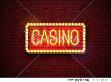 Casino neon sign illustration on brick wall background. Vector light banner or bright signboard 40424388