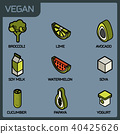 Vegan life color outline isometric icons set 40425626