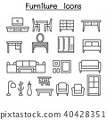 Basic Furniture icon set in thin line style 40428351