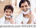 child, father, shave 40428418