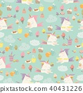 Vector cartoon seamless pattern unicorn with cake and coffee 40431226