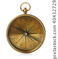 Old vintage brass compass isolated on a white back 40432729