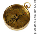 Old vintage brass compass isolated on a white back 40432730