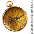Old vintage brass compass isolated on a white back 40432731