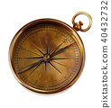 Old vintage brass compass isolated on a white back 40432732