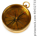 Old vintage brass compass isolated on a white back 40432733