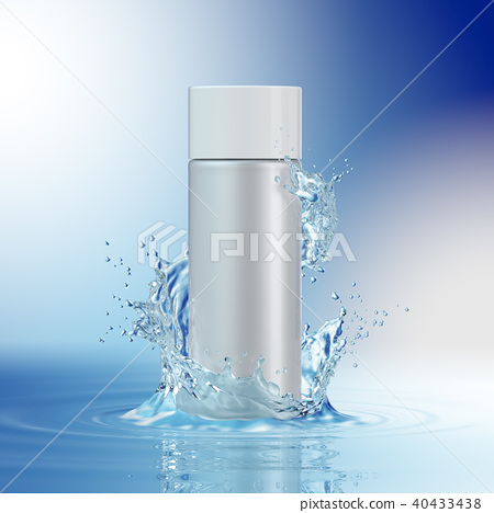 Cream bottle mock up in water splash on blue background. 40433438